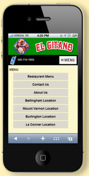 mobile restaurant website - smartphone friendly